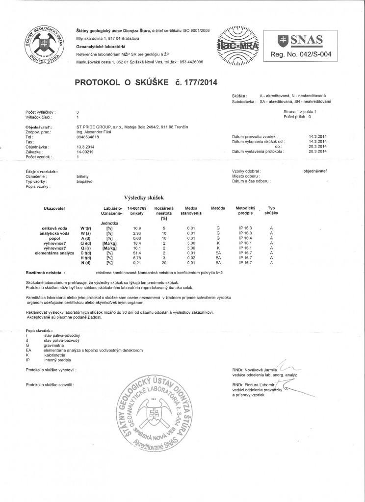 Certifikat Brikety RUF